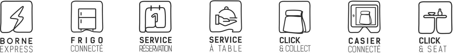 Borne Express, Frigo connecté, Service restauration, Service à table, Click & Collect, Casier connecté, Click & Seat
