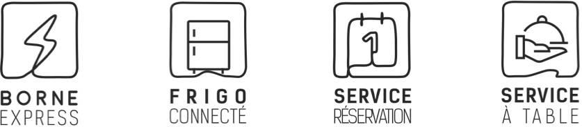 Borne Express, Frigo connecté, Service restauration, Service à table